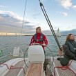 Sailing on the IJsselmeer in the Netherlands at sunset — Stock Photo #12883373