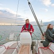 Stock Photo: sailing on the ijsselmeer in the netherlands at sunset