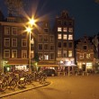 Amsterdam by night in the Netherlands - Stock Photo