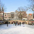 Winter in Amsterdam the Netherlands with the Westerkerk - Stock Photo