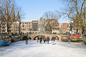 Winter in Amsterdam the Netherlands with the Westerkerk — Stock Photo