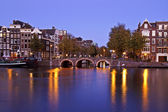 City scenic from Amsterdam Netherlands at twilight — Stock Photo