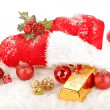 Stock Photo: Red Boot of SantClaus with golden gift