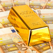 Gold bar and euro money — Stock Photo #16924487