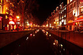 Red light district in Amsterdam the Netherlands at night — Stock Photo