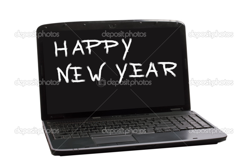 Happy New Year  on a laptop screen — Stock Photo #16924375