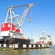 Cargo container ship in Rotterdam harbor in the Netherlands — Stock Photo