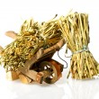 Handcart with straw — Stock Photo