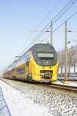 Train driving in the countryside from Netherlands in winter — Stock Photo