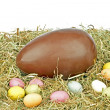 Stock Photo: Chocolate egg with little colored eggs in straw