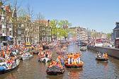 Amsterdam - 30 de abril: celebração da queensday em 30 de abril de 2012 — Foto Stock