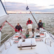 Sailing on the IJsselmeer in the Netherlands at sunset — Stock Photo