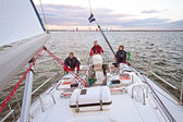 Sailing on the IJsselmeer in the Netherlands at sunset — Foto de Stock