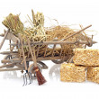 Old wooden handcart full of straw and agricultural tools - Stock Photo