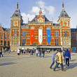Постер, плакат: AMSTERDAM NETHERLANDS APRIL 30: Decorated central station in