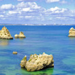 Panorama from rocks and ocean in Lagos Portugal — Stock Photo