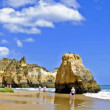Panorama from rocks and ocean at Praia Tres Irmaos in Alvor Port — Stock Photo