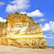 Panoramic view from rocks and ocean at Praia da Rocha in the Alg — Stock Photo