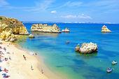 Roches naturelles et plages à lagos au portugal — Photo