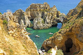 Natural rocks near Lagos Portugal — Stok fotoğraf