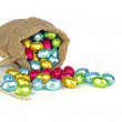 Bag full of easter chocolate eggs — Stock Photo