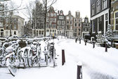 Snowy Amsterdam in the Netherlands — Stock Photo