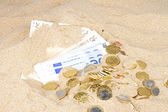 Euro bank notes and coins in the sand — Stock Photo