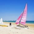 Sailboats at the beach in Portugal — Stock Photo