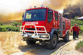 Fire figthers at a big bushfire in Portugal — Stock Photo