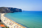 Tourism at the beach from Arifana at the westcoast from Portugal — Stock Photo