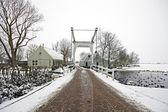 Winterlandscape auf dem lande aus den niederlanden — Stockfoto