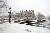 Snowy Amsterdam in the Netherlands in winter — Stock Photo