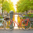 Bikes on the bridge in Amsterdam Netherlands — Stock Photo