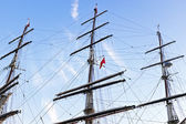 Three masts fom a sailboat — Stock Photo