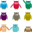Set of Colorful Owls — Stock Vector #13485774