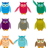 Set of Colorful Owls — Stock Vector
