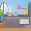 Alien on the kitchen — Imagen vectorial