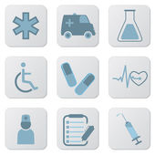 Medical blue icons — Stock Vector