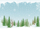 Snowy forest landscape — Stock Vector