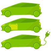 Set of three ecological, green cars — Stock Vector