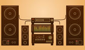 Retro stylish audio system — Stock Vector