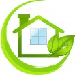 Green logo of eco house with leafs — Stock Vector