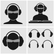 Set of Music Icons with Headphones — Stock Vector
