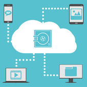 Segura a computação em nuvem — Vetor de Stock