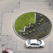 Cars in a circular driveway — Stock Photo