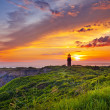 Sunset at a lighthouse — Stock Photo