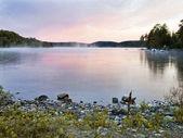 Mist rising off lake — Stock Photo