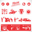 Pizza graphic elements, fast delivery service, online food order — Stock Vector