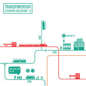 Transportation infographics - graphic elements collection 2, bus routes & train station — Stock Vector