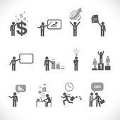 Business man metaphors - figure set collection — Stock Vector